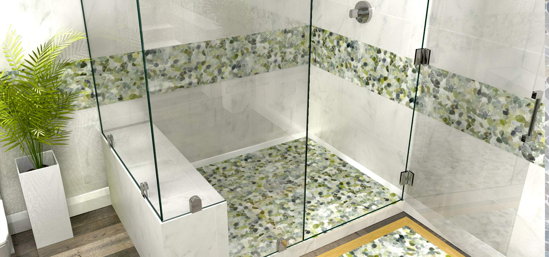 Zen Paradise Fine Pebble and Stone Tiles Bathroom Shower walls