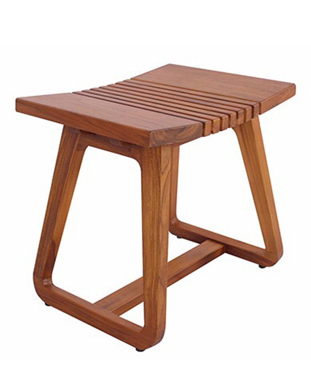 Bali Hai Solid Teak Wood Bathroom Stool Zen Paradise